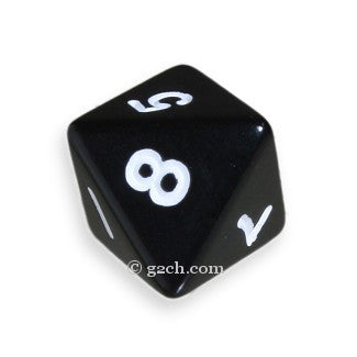 D8 Opaque Black with White Numbers