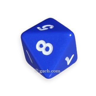 D8 Opaque Blue with White Numbers