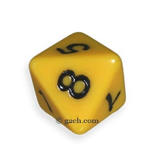 D8 Opaque Dark Yellow with Black Numbers