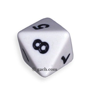 D8 Opaque White with Black Numbers