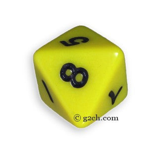 D8 Opaque Yellow with Black Numbers