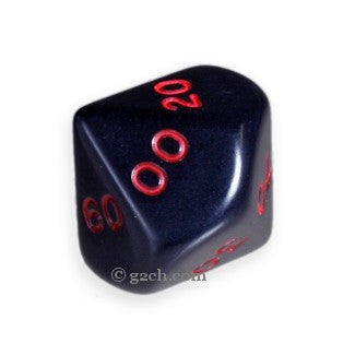 D10 DECADE Opaque Black with Red Numbers