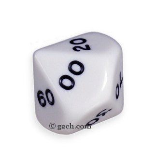 D10 DECADE Opaque White with Black Numbers
