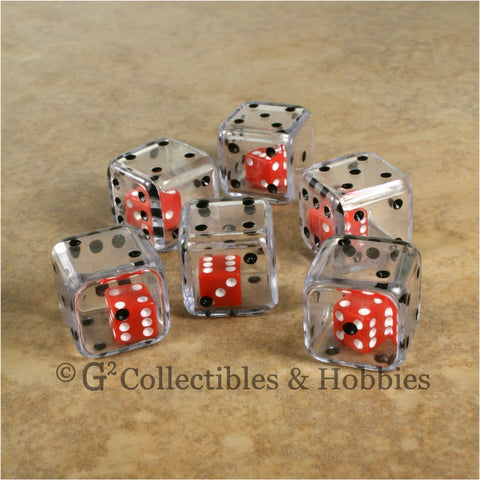 D6 19mm Double Dice 6pc Dice Set - Clear