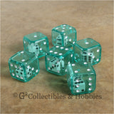 D6 19mm Double Dice 6pc Dice Set - Green