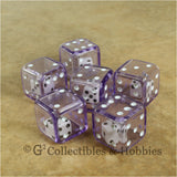 D6 19mm Double Dice 6pc Dice Set - Purple