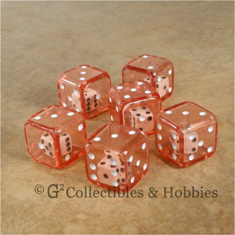D6 19mm Double Dice 6pc Dice Set - Red