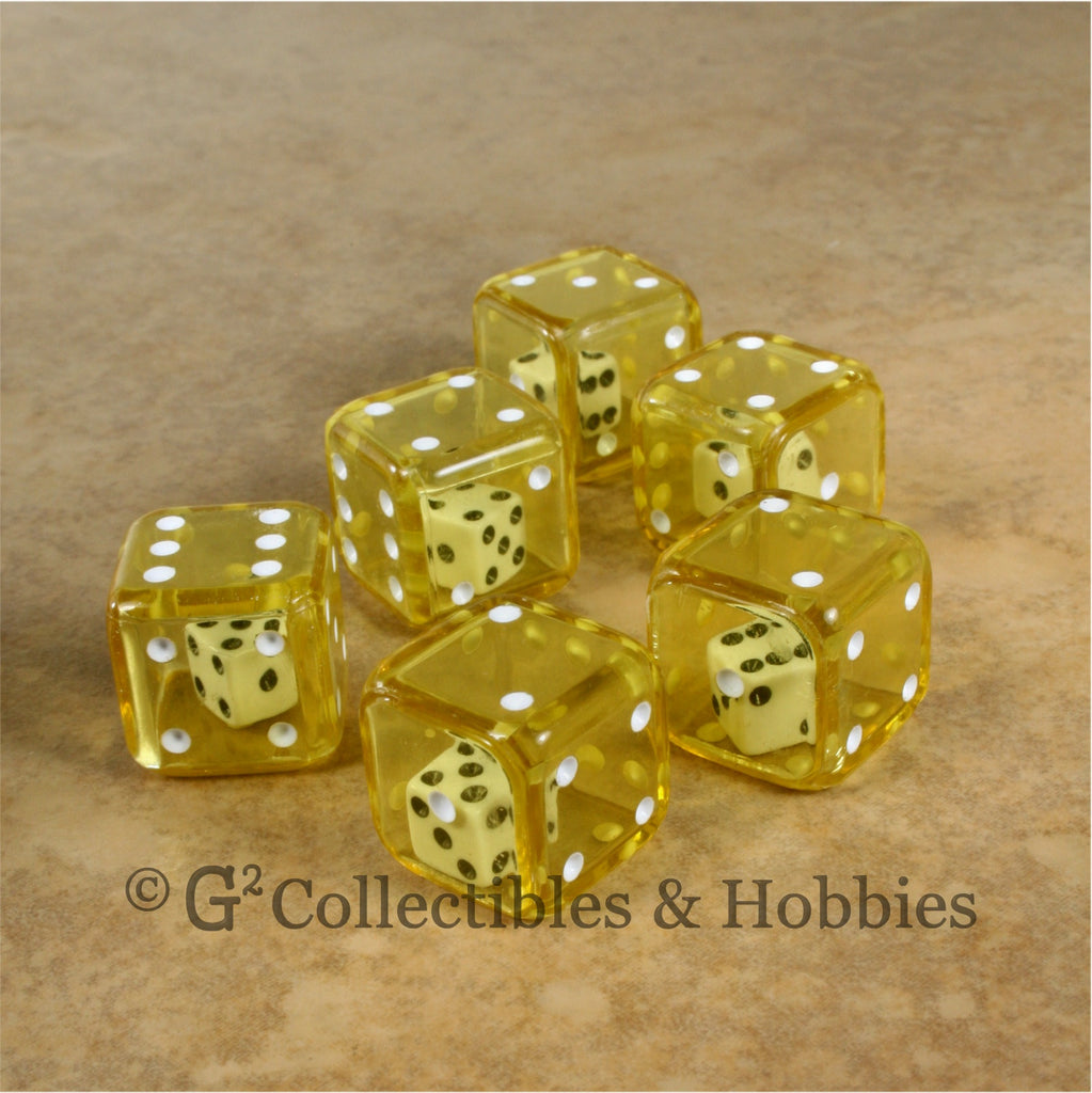 D6 19mm Double Dice 6pc Dice Set - Yellow