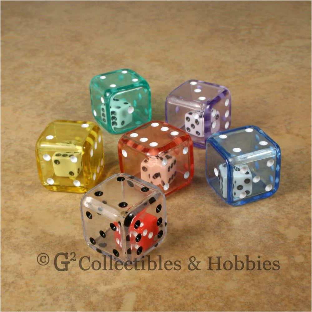 D6 19mm Double Dice 6pc Dice Set - 6 Colors