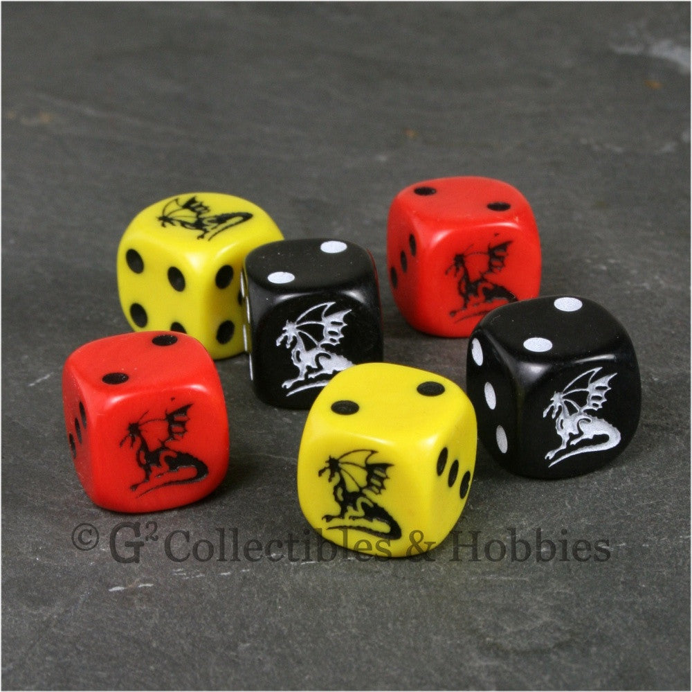 Dragon Dice 6pc Set - Red Black Yellow