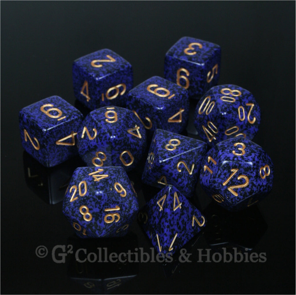 RPG Dice Set Speckled Golden Cobalt 10pc