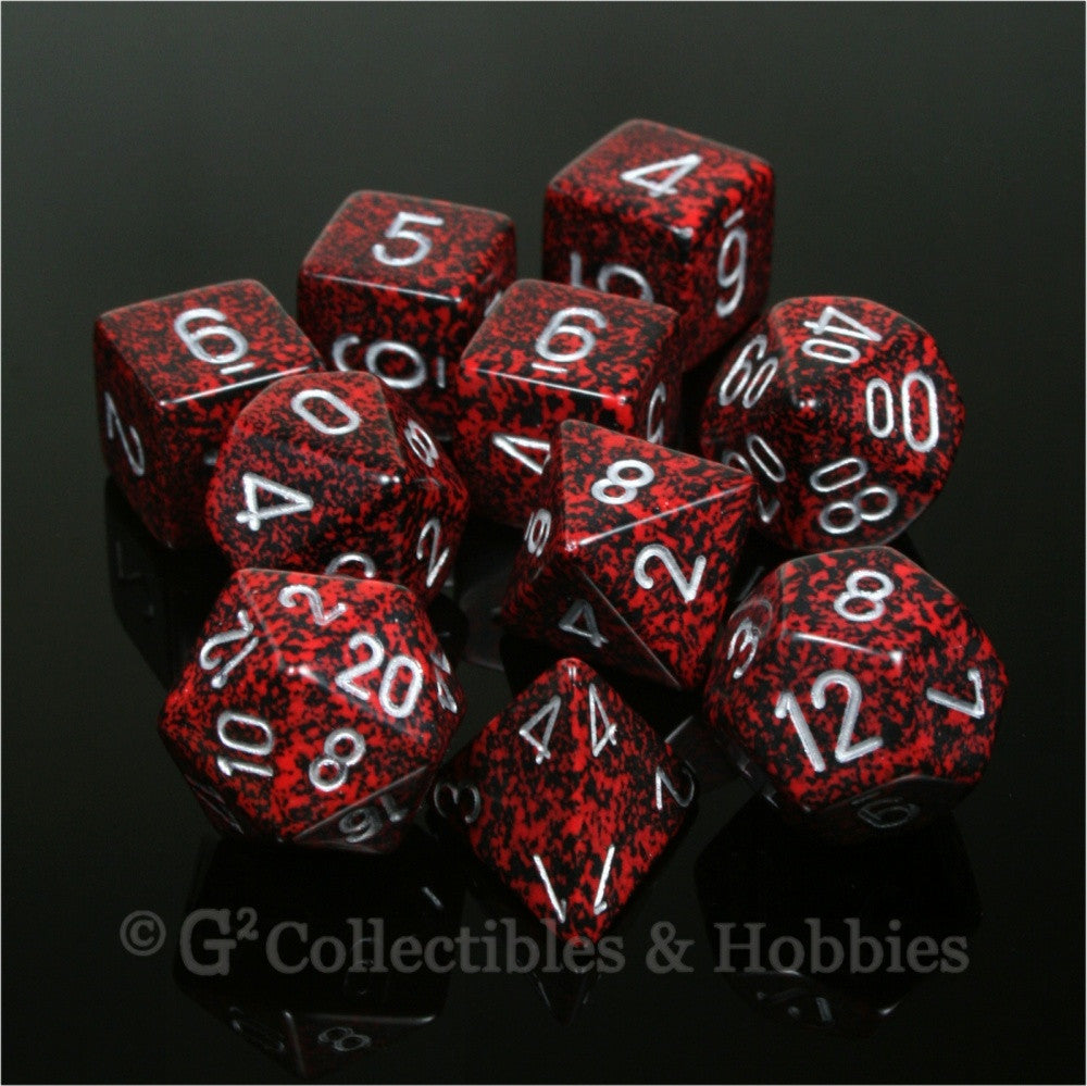 RPG Dice Set Elemental Silver Volcano 10pc