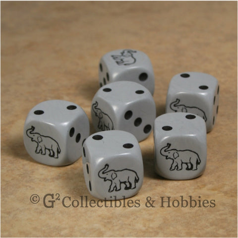 Elephant 6pc Dice Set - Gray