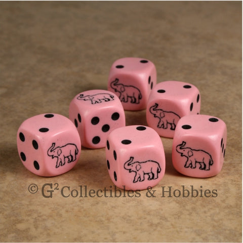Elephant 6pc Dice Set - Pink
