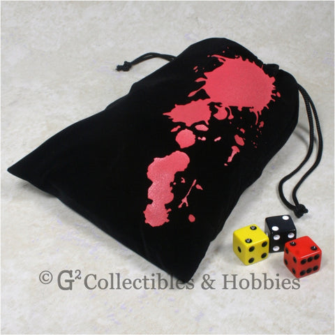 Dice Bag: Large Black Velour with Blood Splatter Design