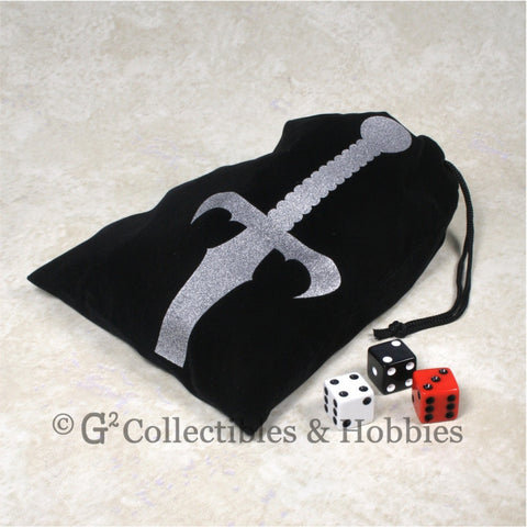 Dice Bag: Large Black Velour with Sword Design
