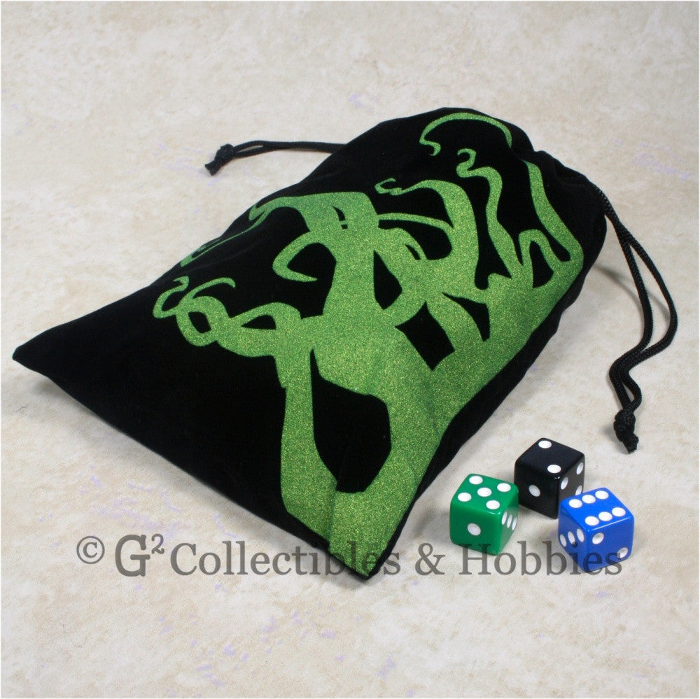 Dice Bag: Large Black Velour with Tentacles Design