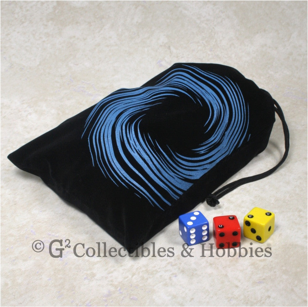Dice Bag: Large Black Velour with Vortex Design