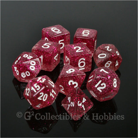 RPG Dice Set Glitter Purple Red with White Numbers 10pc