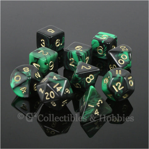 RPG Dice Set Oblivion Black Green with Gold Numbers 10pc