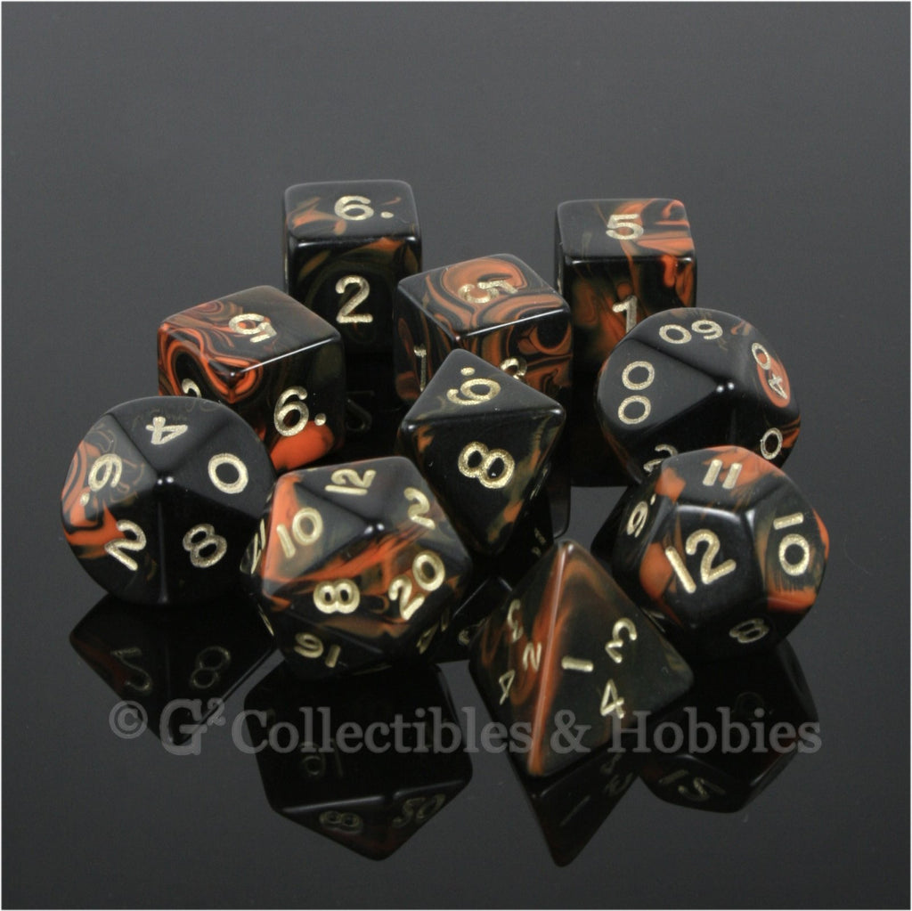 RPG Dice Set Oblivion Black Orange with Gold Numbers 10pc