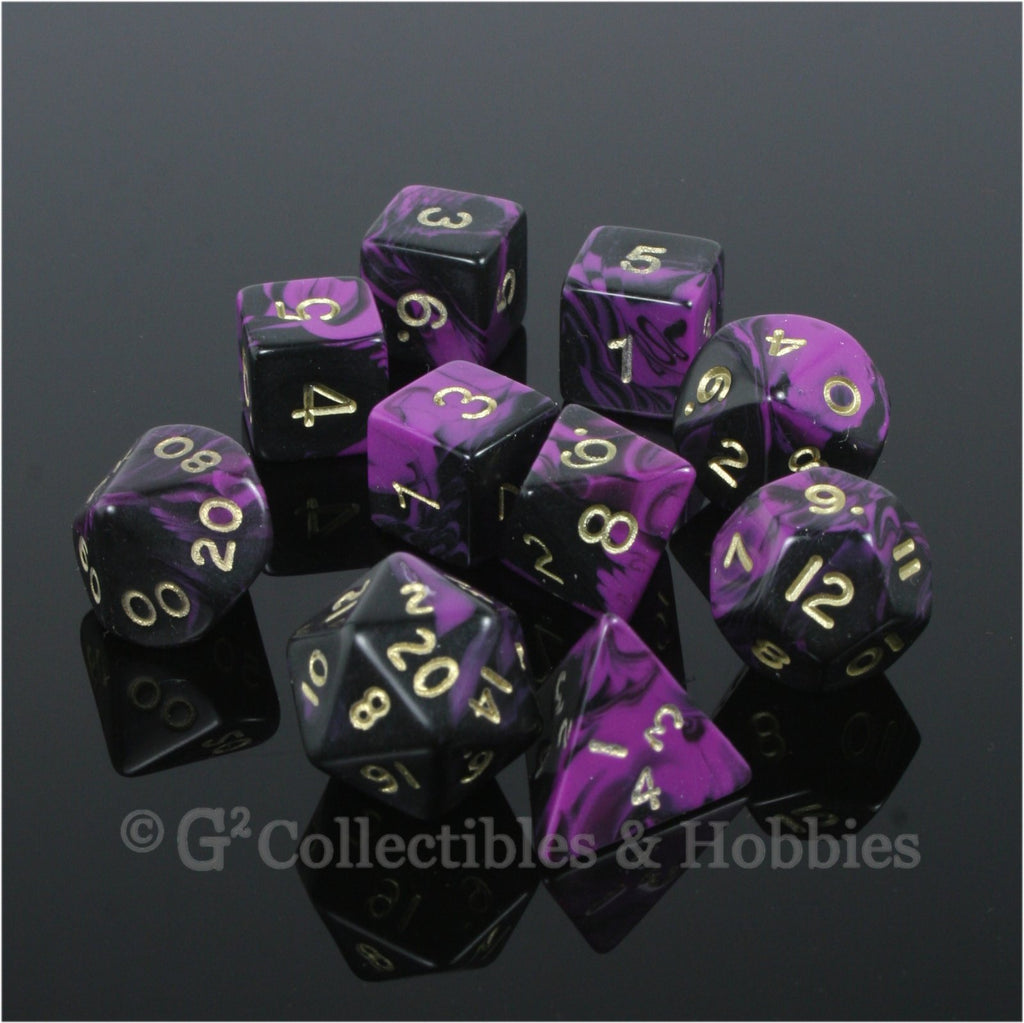 RPG Dice Set Oblivion Black Purple with Gold Numbers 10pc