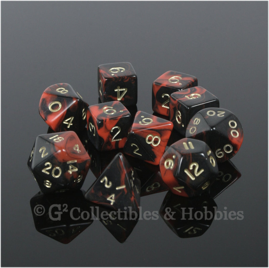 RPG Dice Set Oblivion Black Red with Gold Numbers 10pc