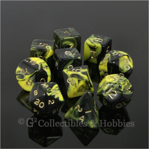 RPG Dice Set Oblivion Black Yellow with Gold Numbers 10pc