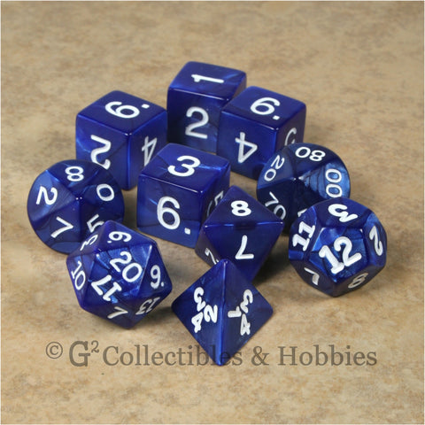 RPG Dice Set Pearlized Navy Blue 10pc