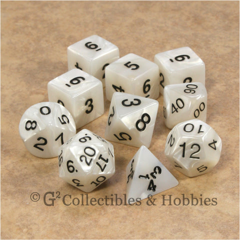 RPG Dice Set Pearlized Gray White 10pc