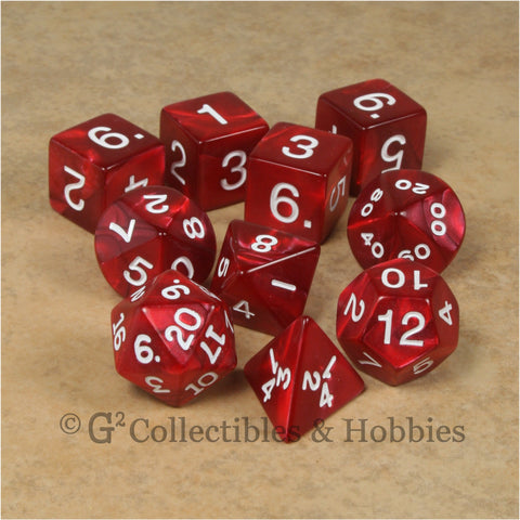 RPG Dice Set Pearlized Red 10pc