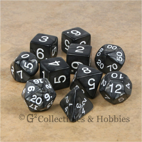RPG Dice Set Pearlized Charcoal Black 10pc