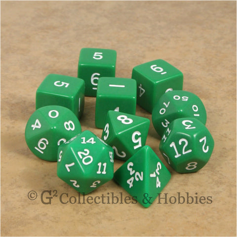 RPG Dice Set Opaque Green with White Numbers 10pc