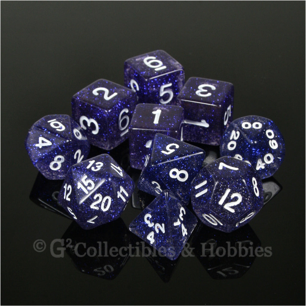 RPG Dice Set Glitter Blue with White Numbers 10pc