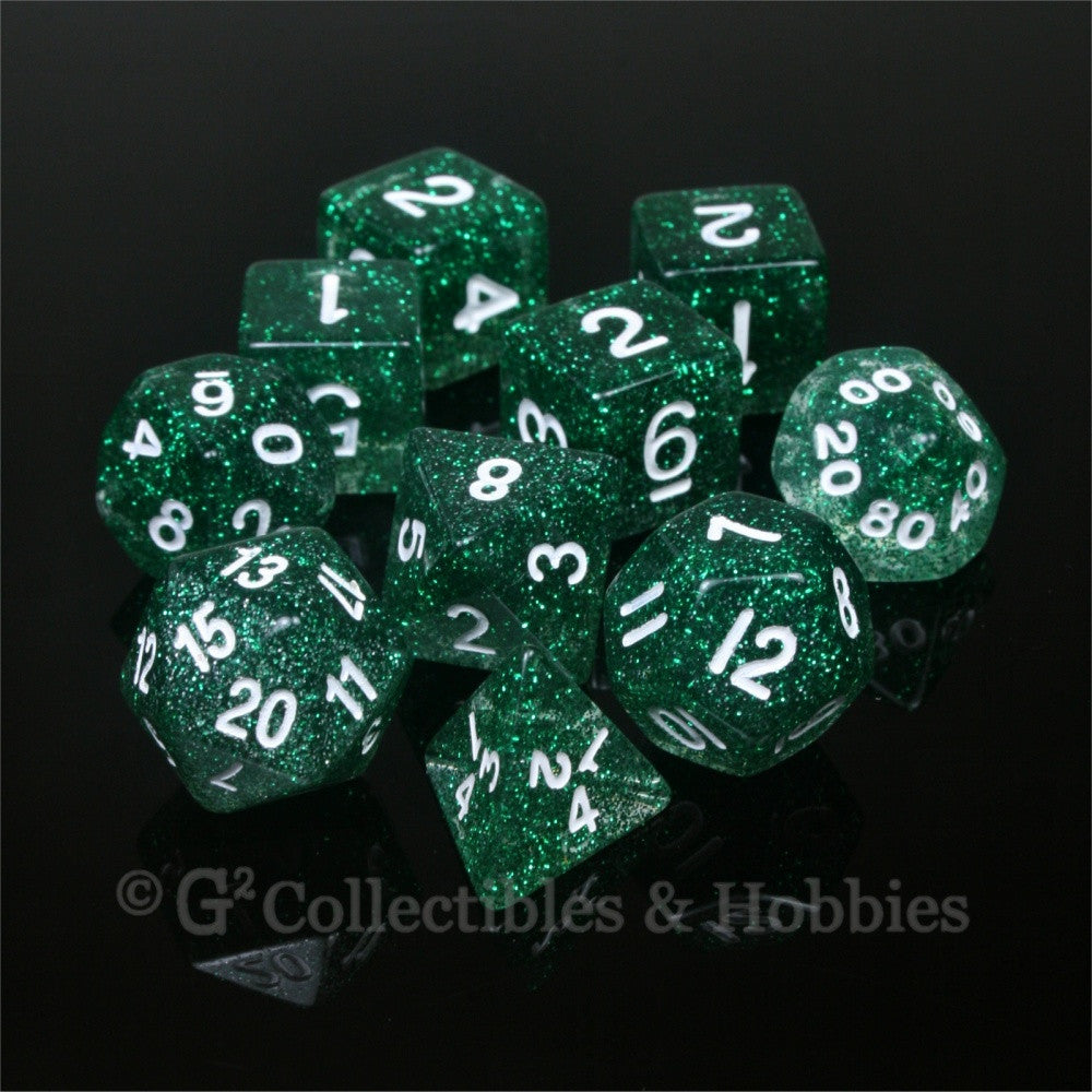 RPG Dice Set Glitter Green with White Numbers 10pc