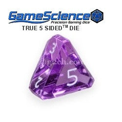 D5 Transparent Amethyst Purple w/White Gamescience Gem Die