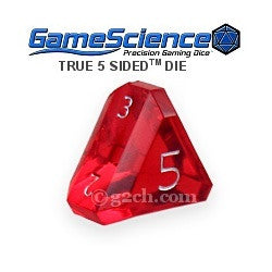 D5 Transparent Ruby Red w/Silver Gamescience Gem Die