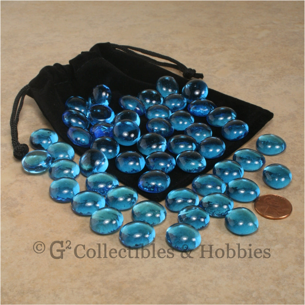 Glass Gaming Stones & Bag Set - 50pc Blue