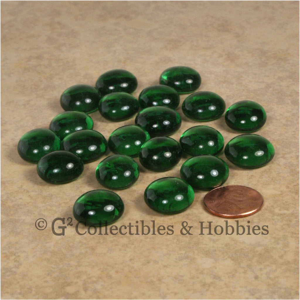 Glass Gaming Stones - 20pc Green