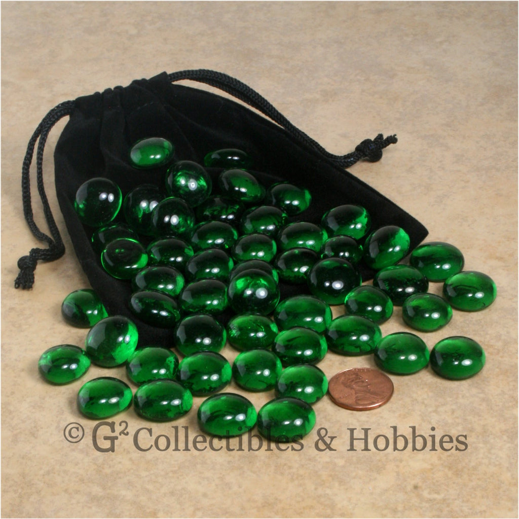Glass Gaming Stones & Bag Set - 50pc Green