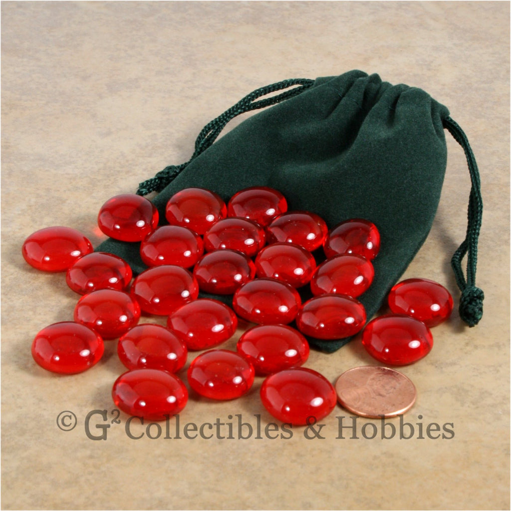 Glass Gaming Stones & Bag Set - 25pc Red