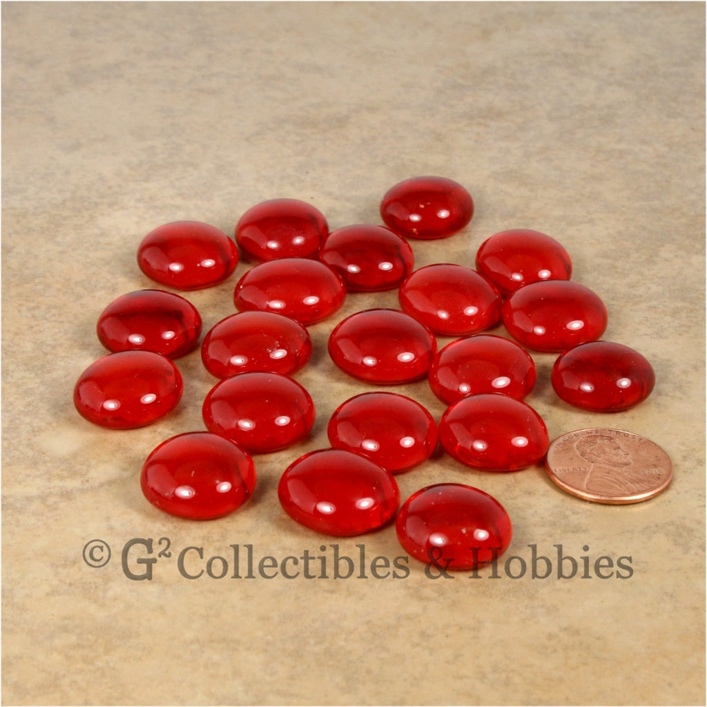 Glass Gaming Stones - 20pc Red