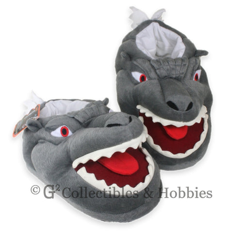 Godzilla Face Plush Glow in the Dark Slippers