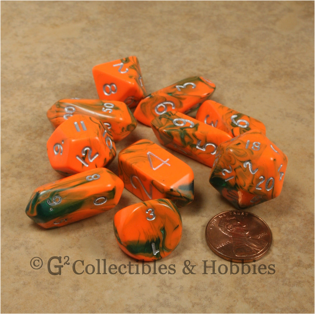 RPG Dice Set Hybrid Toxic Orange Green with Silver Numbers 10pc