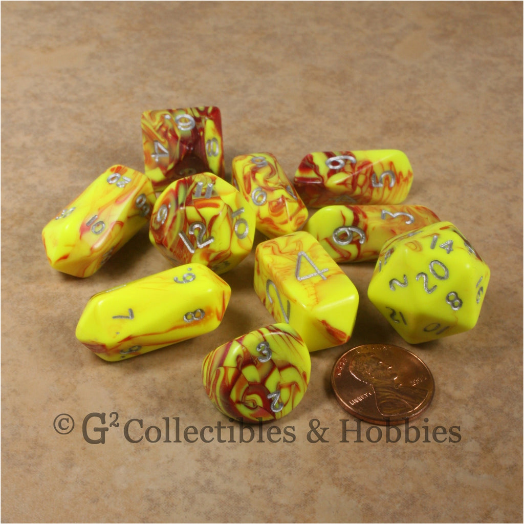 RPG Dice Set Hybrid Toxic Yellow Red with Silver Numbers 10pc