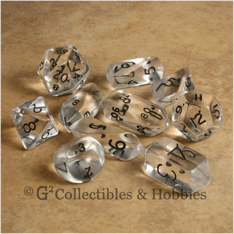 RPG Dice Set Hybrid Transparent Clear with Black Numbers 10pc