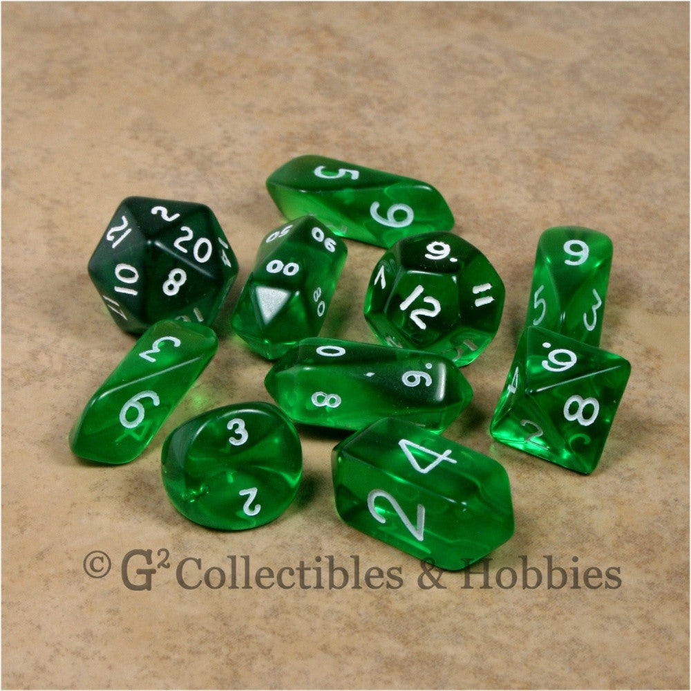 RPG Dice Set Hybrid Transparent Green with White Numbers 10pc