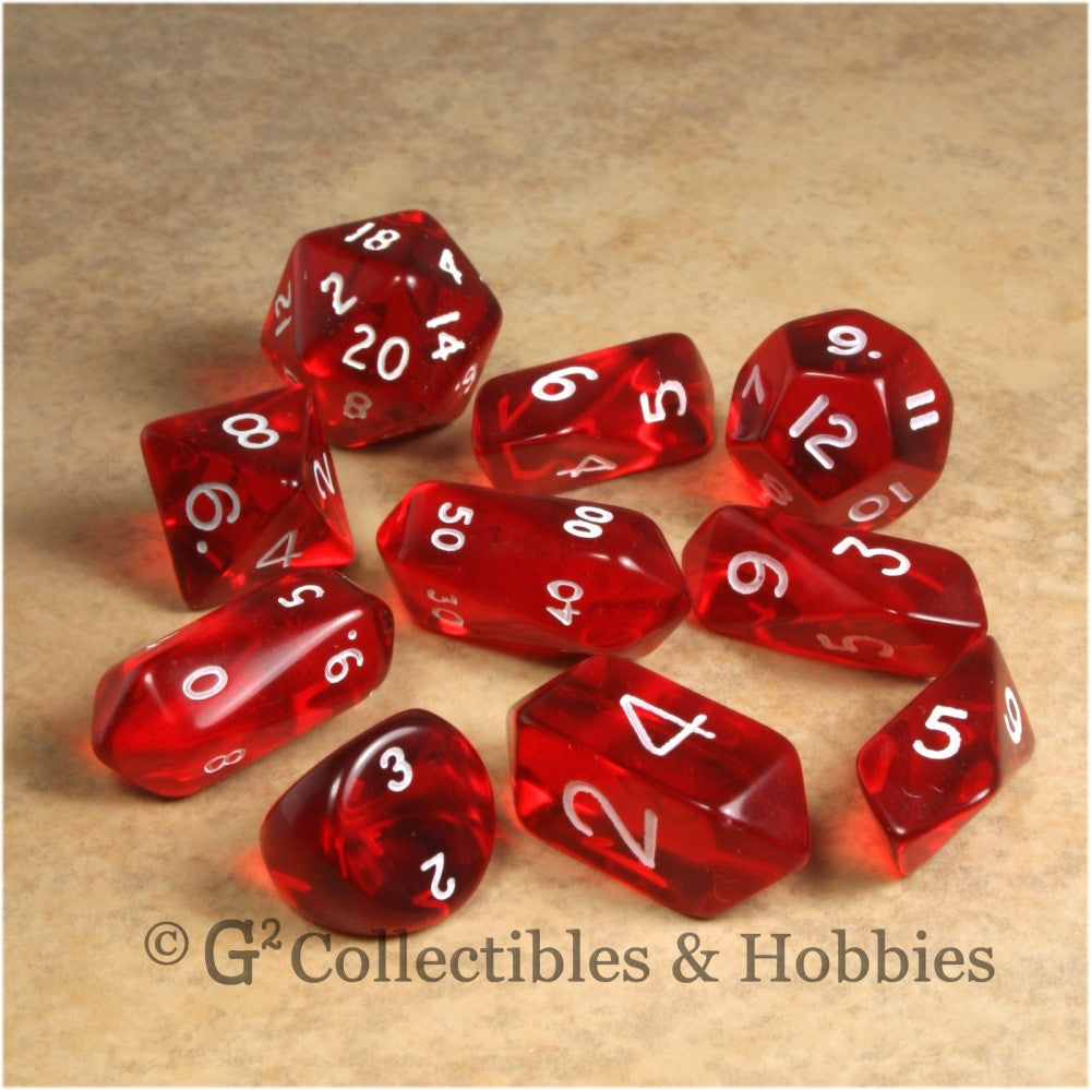 RPG Dice Set Hybrid Transparent Red with White Numbers 10pc