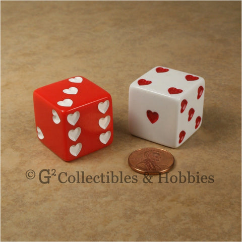 D6 25mm Jumbo Sweetheart Dice Red & White Pair