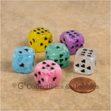 D6 16mm Cirrus Swirl with Heart Pips 6pc Dice Set - 6 Colors